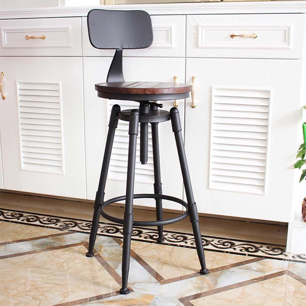 Mesurn JP フォックスレザーヴィンテージキッチン朝食用スツール、調節可能な高さの回転と背もたれの高さ強クロームチャール (色 : Dark, サイズ さいず : Backrest) B07DSZYY9X Backrest|Dark Dark Backrest