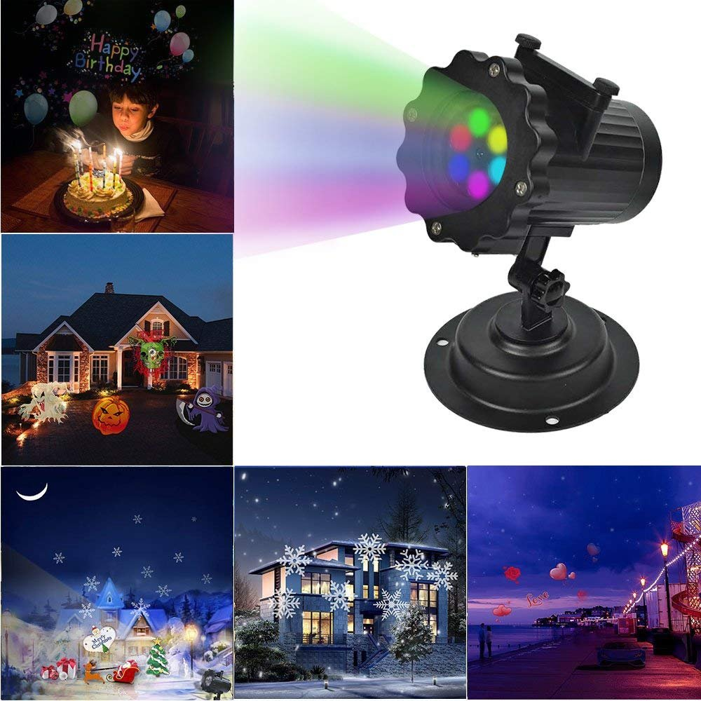 HIOTECH Light Projector 16 PATTERN GOBOS Built-In Remote Control Waterproof Design with UL Certification for Decoration Lighting on Christmas Halloween Holiday Party (Light Projector)
