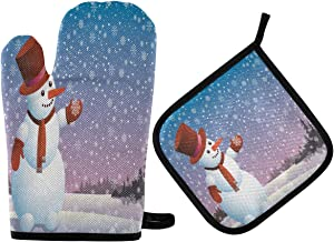 ALAZA Cute Christmas Snowman Oven Mitts and Pot Holders Sets Heat Resistant Kitchen Oven Gloves Potholder Hot Pad for Cooking Baking Grill