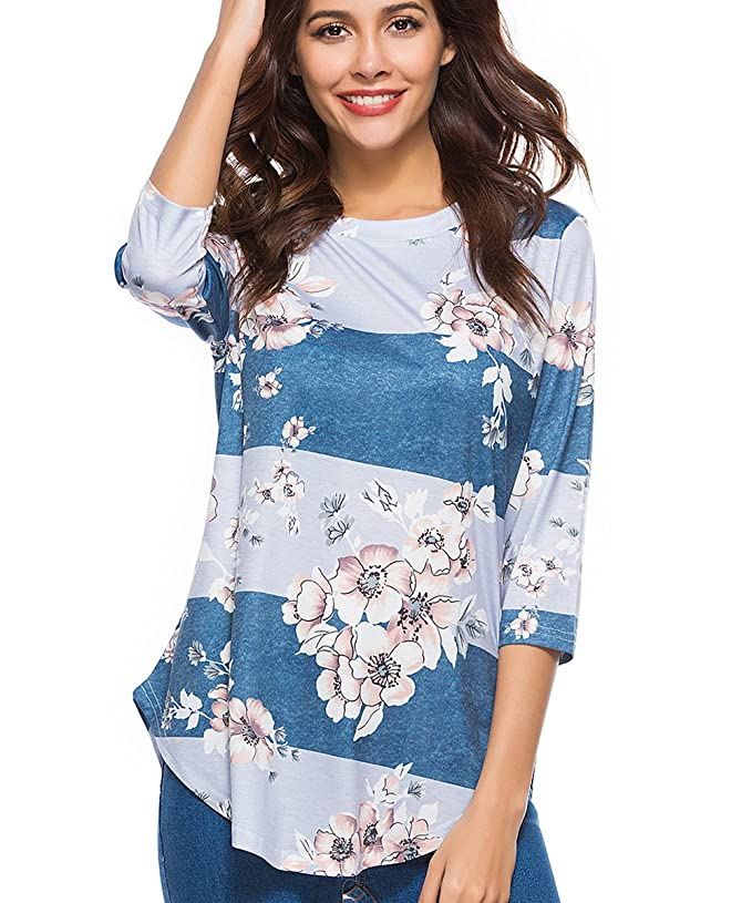 CEASIKERY Womens Blouse 3/4 Sleeve Floral Print T-Shirt Comfy Casual Tops For Women Floral 003 (US 8-10) Medium