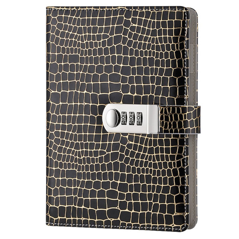 A5 Password Notebook Leather Travel Writting Diary Journal Notebook with Combination Lock TPN095 (Black)