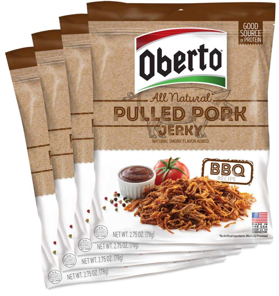 Oberto All-Natural BBQ Pulled Pork Jerky, 2.75 Ounce (Pack of 4)