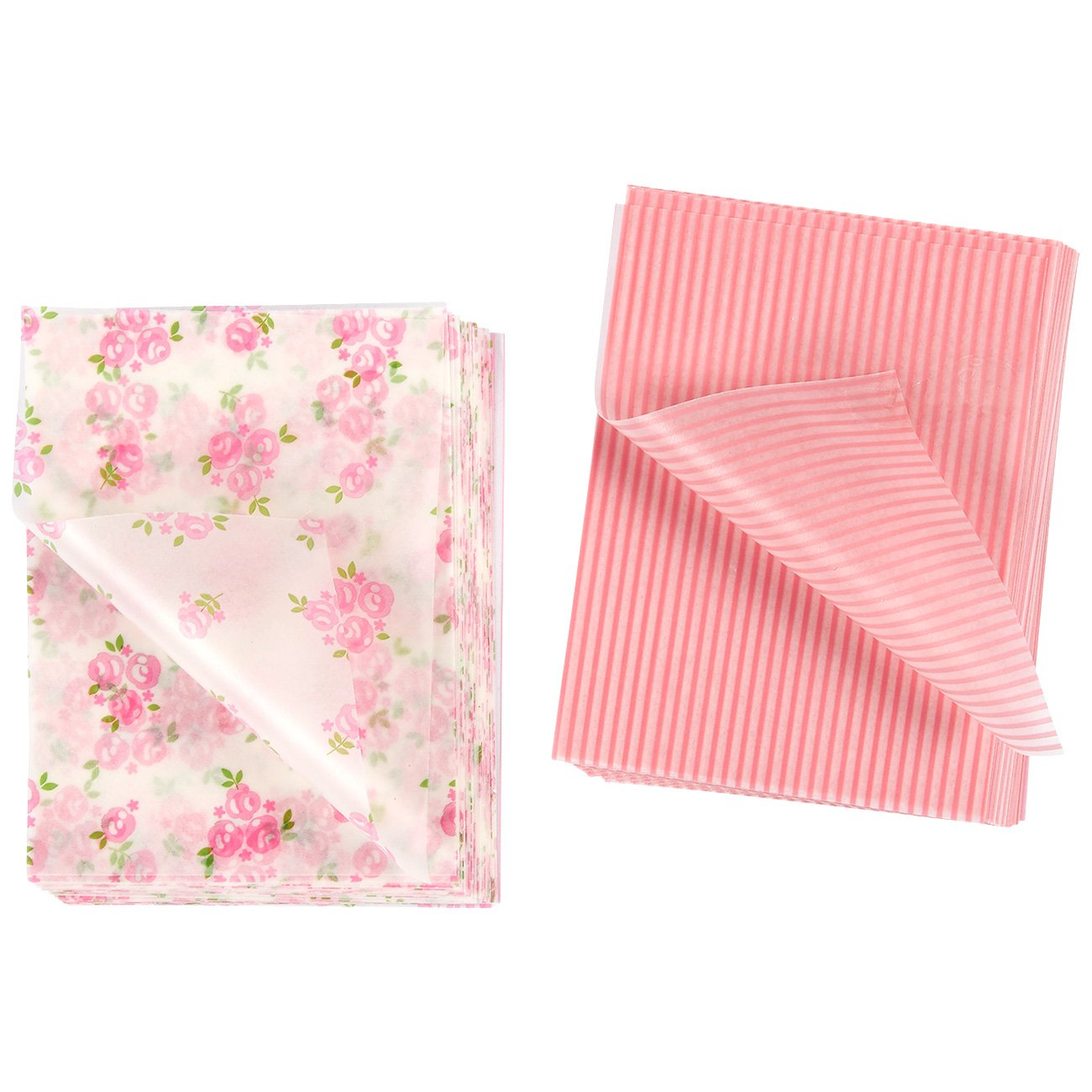 Candy Wrapper - 200-Sheet Chocolate, Caramel, and Lollipop Candy Wrappers, Nougat Twisting Wax Paper in Pink and White Stripe and Rose Pattern, 4.75 x 3.5 Inches Juvale 4336874824