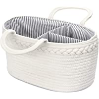 Genenic Baby Diaper Caddy Organizer - Newborn Portable Stylish Cotton Rope Nursery Storage Basket with Removable Insert…