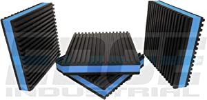 """HEAVY DUTY ANTI VIBRATION ISOLATION PADS 4"""" X 4"""" X 7/8"""" RIBBED RUBBER WITH BLUE COMPOSITE FOAM CENTER, QUANTITY 4"""