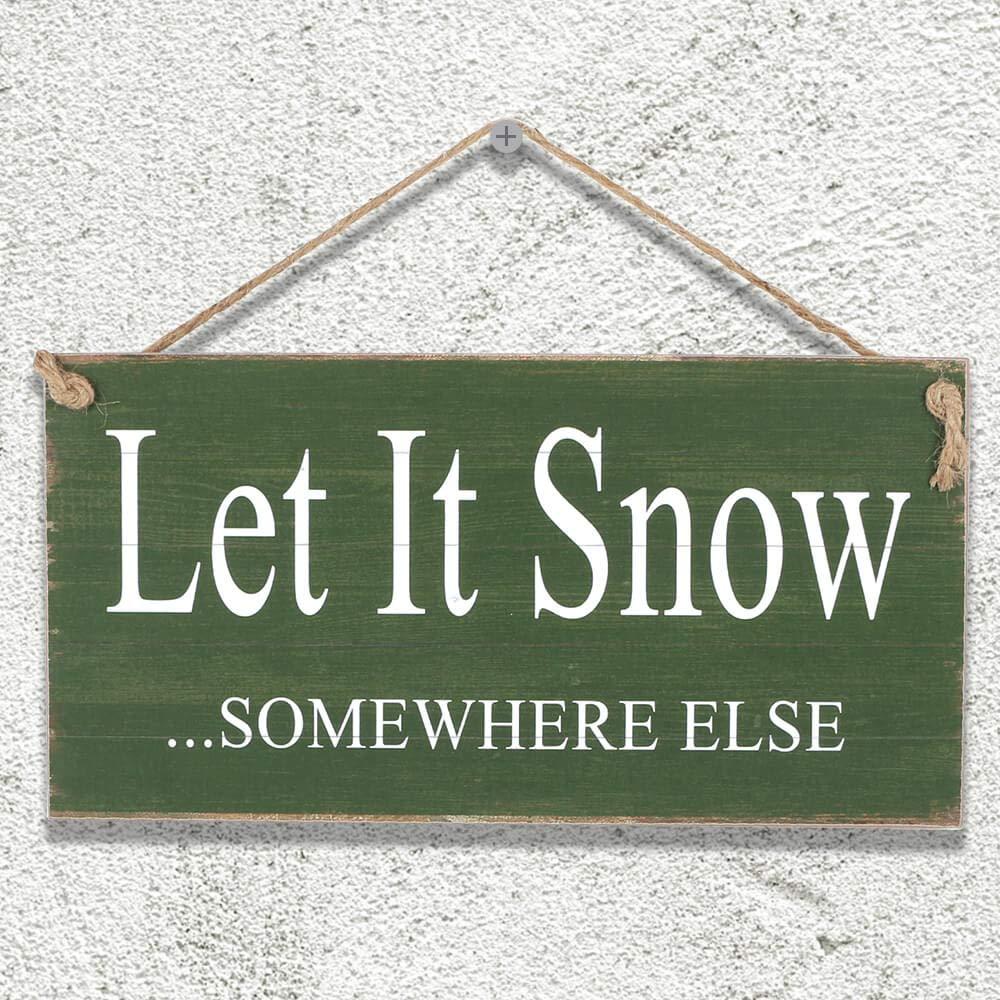 "Yankario Rustic Wall Décor Sign, Farmhouse Funny Home Décor Wood Sign, 12""×6"", Let It Snow Somewhere Else"