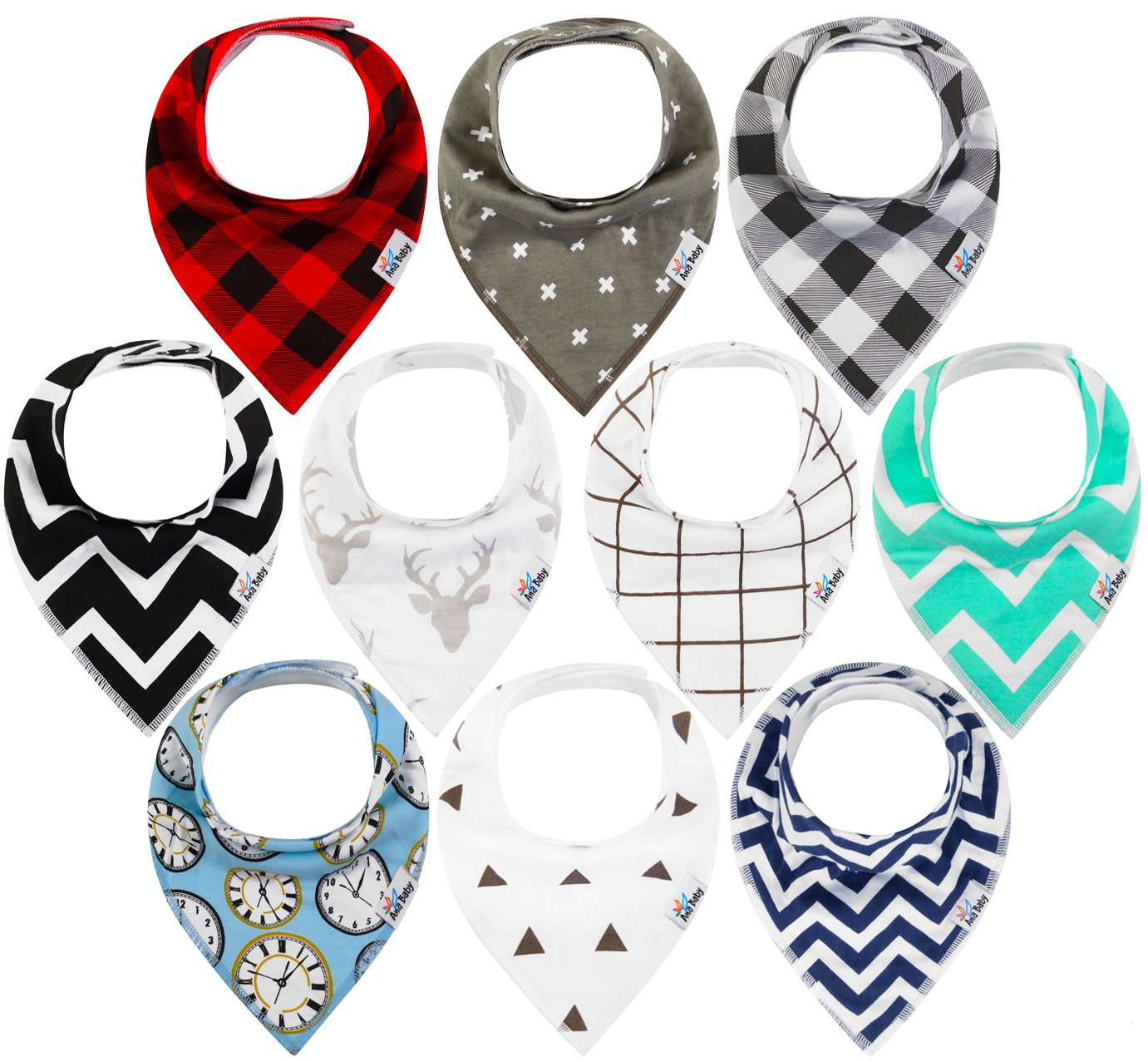 10-Pack Baby Bandana Drool Bibs for Drooling and Teething, 100% Organic Cotton, Soft and Absorbent, Hypoallergenic Unisex Bibs for Baby Boys & Girls - Baby Shower Gift Set by Ana Baby Ana premiums