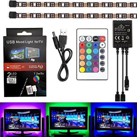 SUROM retroiluminación LED TV (2 x 50 cm), 5050 RGB Kit de tira de luces LED