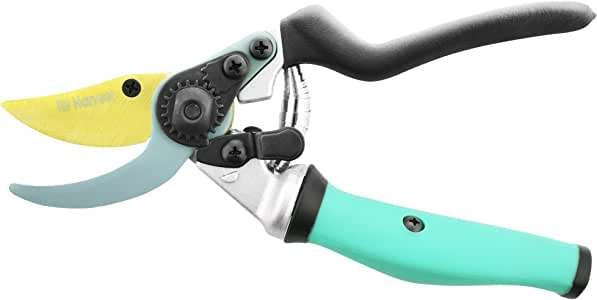 Best Garden Clippers - Titanium & Teflon Coated Blades - Traditional Bypass Pruning Shears. Garden Scissors With Anti Slip Ergonomic Rotating Handle. Garden Tool Avoids Carpal Tunnel & Blisters.