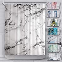Marble Durable Mildew Resistant Shower Curtain for Bathroom with 12 Hooks Polyester Fabric Machine Washable Waterproof…