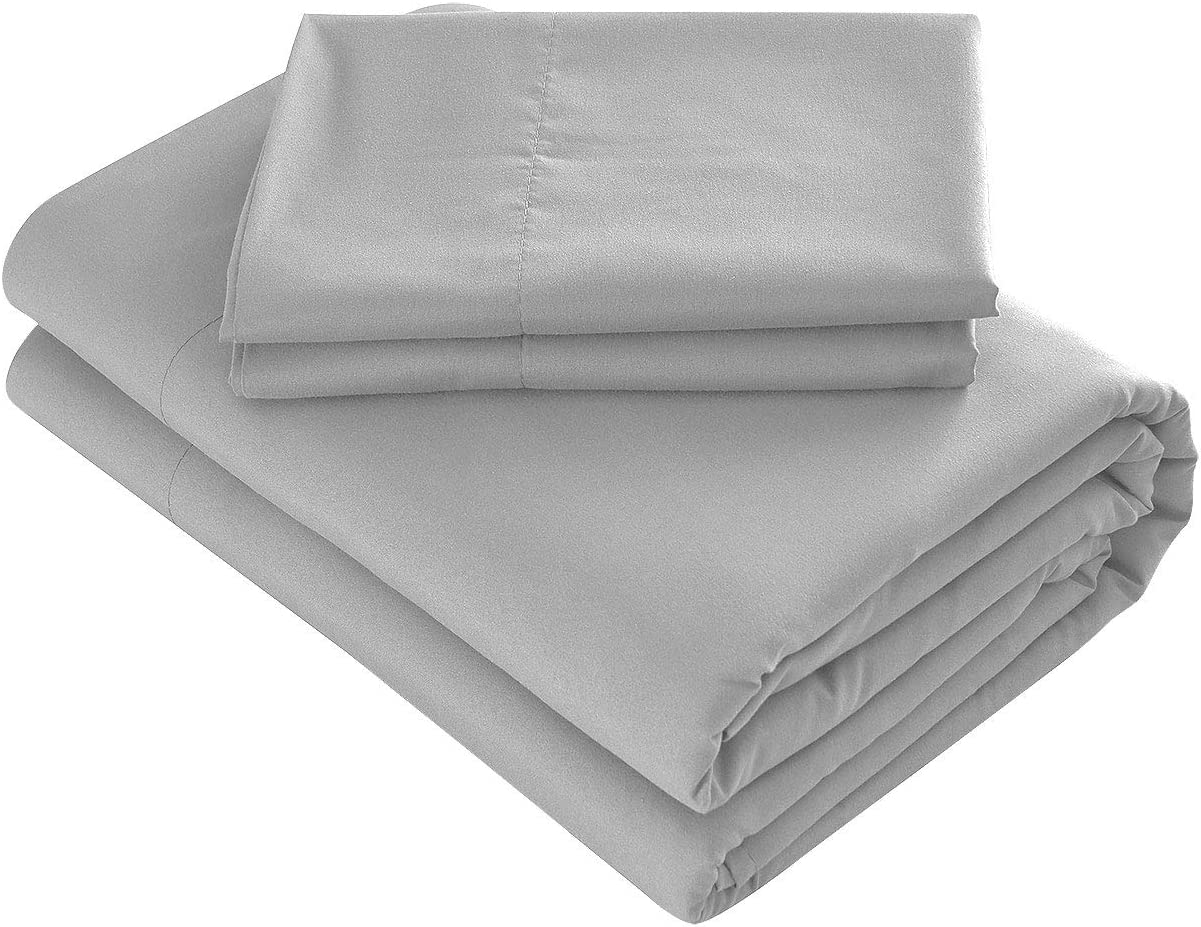Prime Bedding Bed Sheets - 4 Piece Full Size Sheets, Deep Pocket Fitted Sheet, Flat Sheet, Pillow Cases - Gray