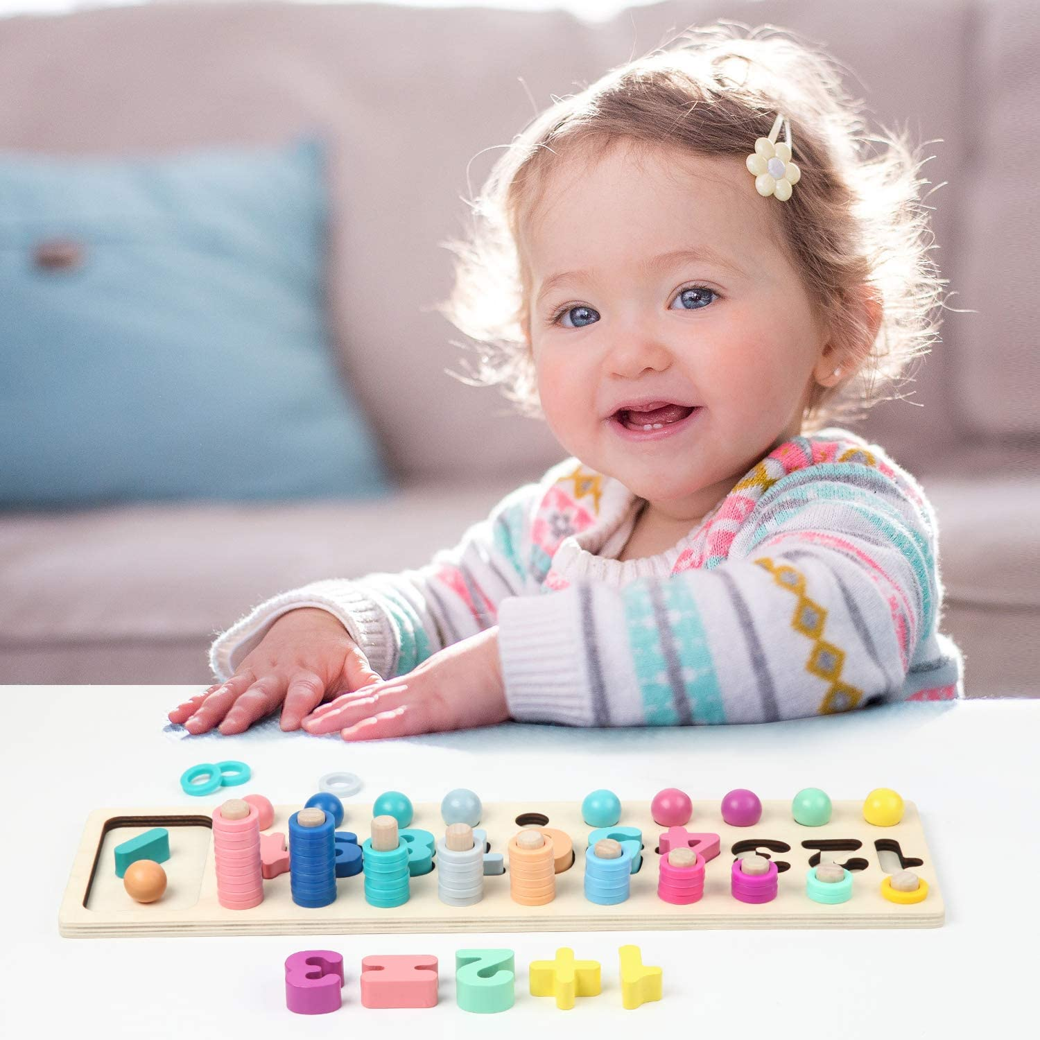 Baby Math Learning Toy-Wooden Number Puzzle Big Size Color Sorting Montessori Toys for Toddlers-Counting Game for Age 3 4 5 Year olds Kids Preschool Education Stacking Blocks
