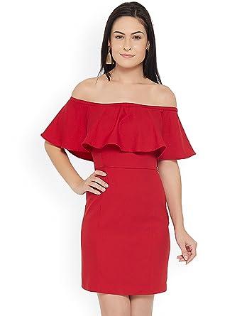 df00b336d660 Aashish Garments Polycotton Off Shoulder Ruffle Dress (Red Medium ...