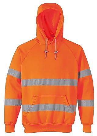 Hi Viz con Cappuccio da Uomo Lavoro Sicurezza Felpa con cappuccio di sicurezza nastro riflettente