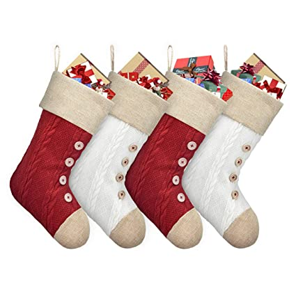 ElegantPark Knit Christmas Stockings Set of 4 Large Plain DIY Xmas Holiday Fireplace Hanging Decoration Gifts for Family Kids Red and White