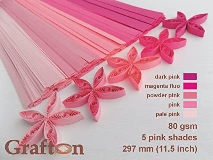 500 Paper Quilling Strips PK PS 3 3mm 80 GSM Wide 1//8 inch 11.5 inch 5 Pink Assorted Shades x 100 Strips per Pack Solid Colors 297 mm Long DIY PaperCraft