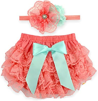 Baby Girls Bloomer and Headband Set Fashion Flower Lace Ruffle Diaper Cover