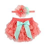 Toptim Baby Girl's Bloomer + Headband Set Lace Diaper Covers (0-6 Months, Coral)