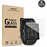 (Pack of 4) Tempered Glass Screen Protector for Garmin Vivoactive, Akwox [0.3mm 2.5D High Definition 9H] Premium Clear Screen Protective Film for Garmin Vivoactive