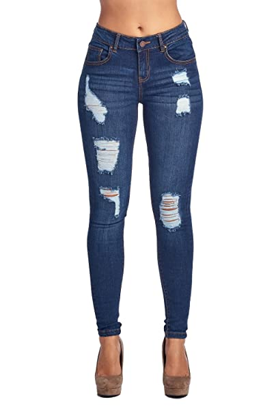 Blue Age Womens Well Stretch Distressed Denim Skinny Jeans (7), Jp1033darkwash best skinny jeans