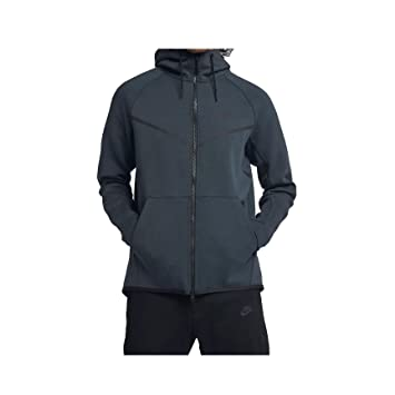 Nike Mens Sportswear Tech Fleece Windrunner Hooded Sweatshirt Deep  Jungle Heather Black 805144- 180b8021e
