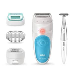 Braun Epilator for Women, Silk-épil 5 5-810 for Hair Removal, Wet & Dry, Bikini Trimmer, Womens Shaver & Trimmer, Cordless, Rechargeable, White/Turquoise