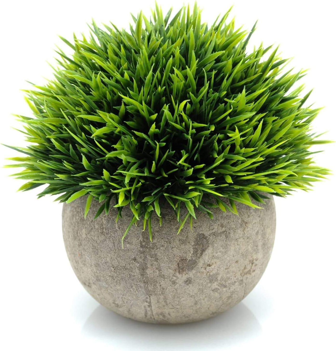 Velener Mini Plastic Fake Green Grass Plants with Pots for Home Decor Indoor -