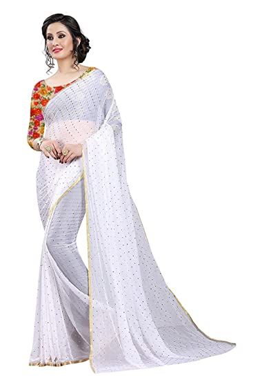 e0ee6b4856aed Krishna Adv Women s Chiffon Saree with Blouse Piece (White   Gold)  Amazon. in  Clothing   Accessories