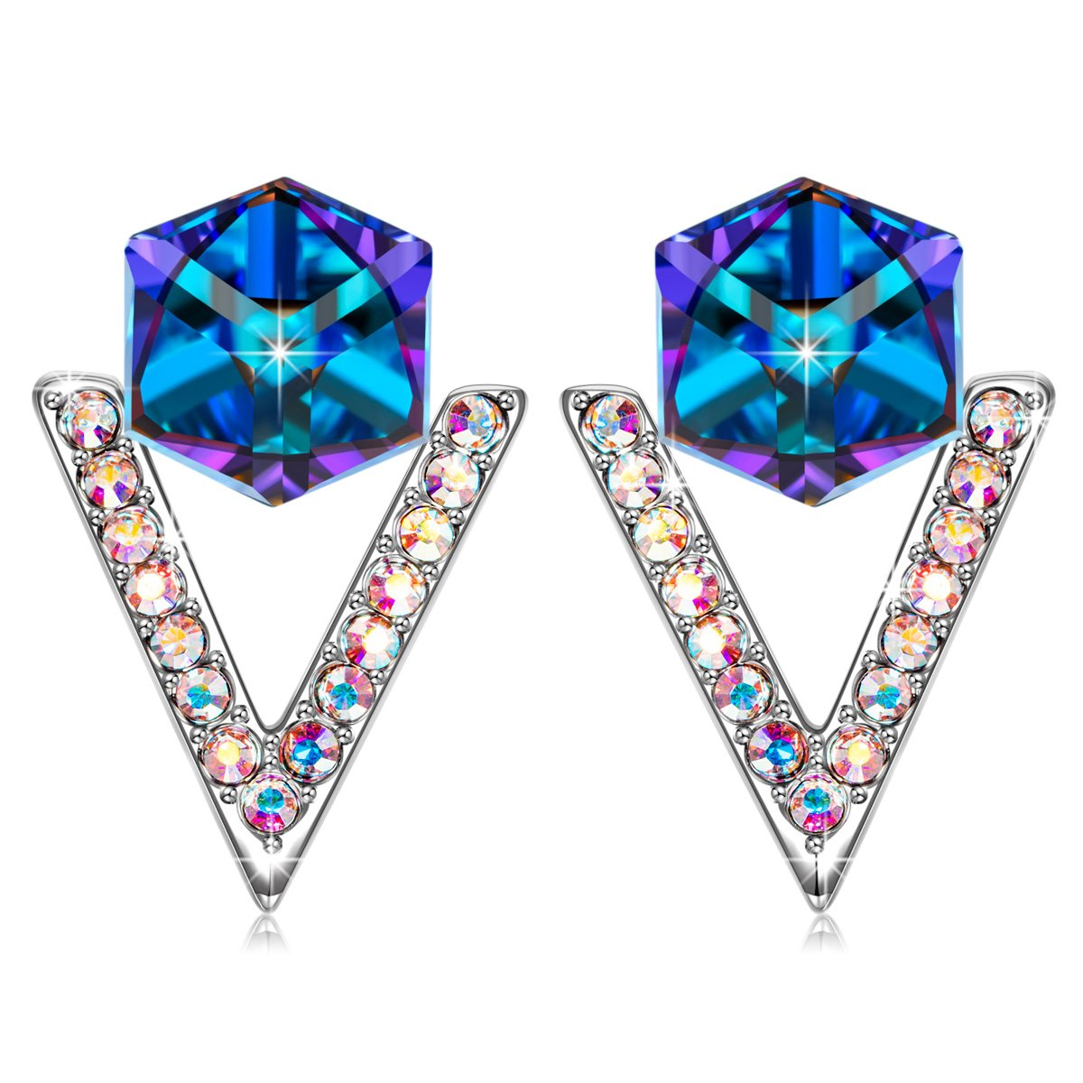 SIVERY 'Love in Eiffel' Stud Earrings with Blue Swarovksi Crystal, Jewelry for Women Gifts for Her (Love in Eiffel Earrings)
