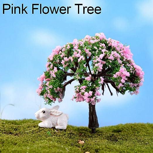 jasminelady - Figura Decorativa en Miniatura de árbol de Hadas para jardín, Maceta, decoración para Manualidades, Regalo de inauguración de la casa, Pink Flower Tree: Amazon.es: Jardín
