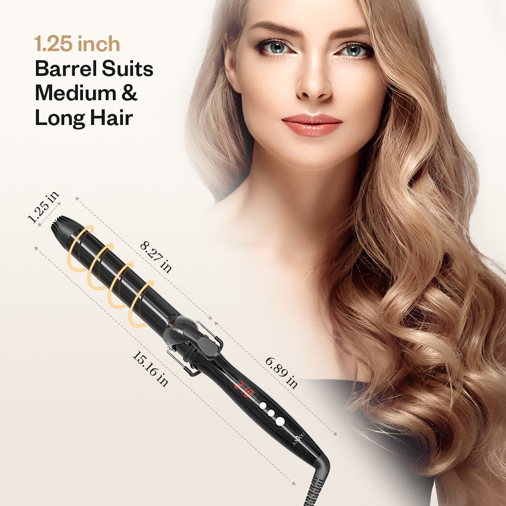 Anjou Curling Iron, 1.25 inch Hair Curler Curling Wand with Anti-scalding Insulated Tip, Ceramic Tourmaline Coating with LCD Diaplay(250 °F to 430 °F, Glove and Curl Clips Included) by Anjou (Image #4)