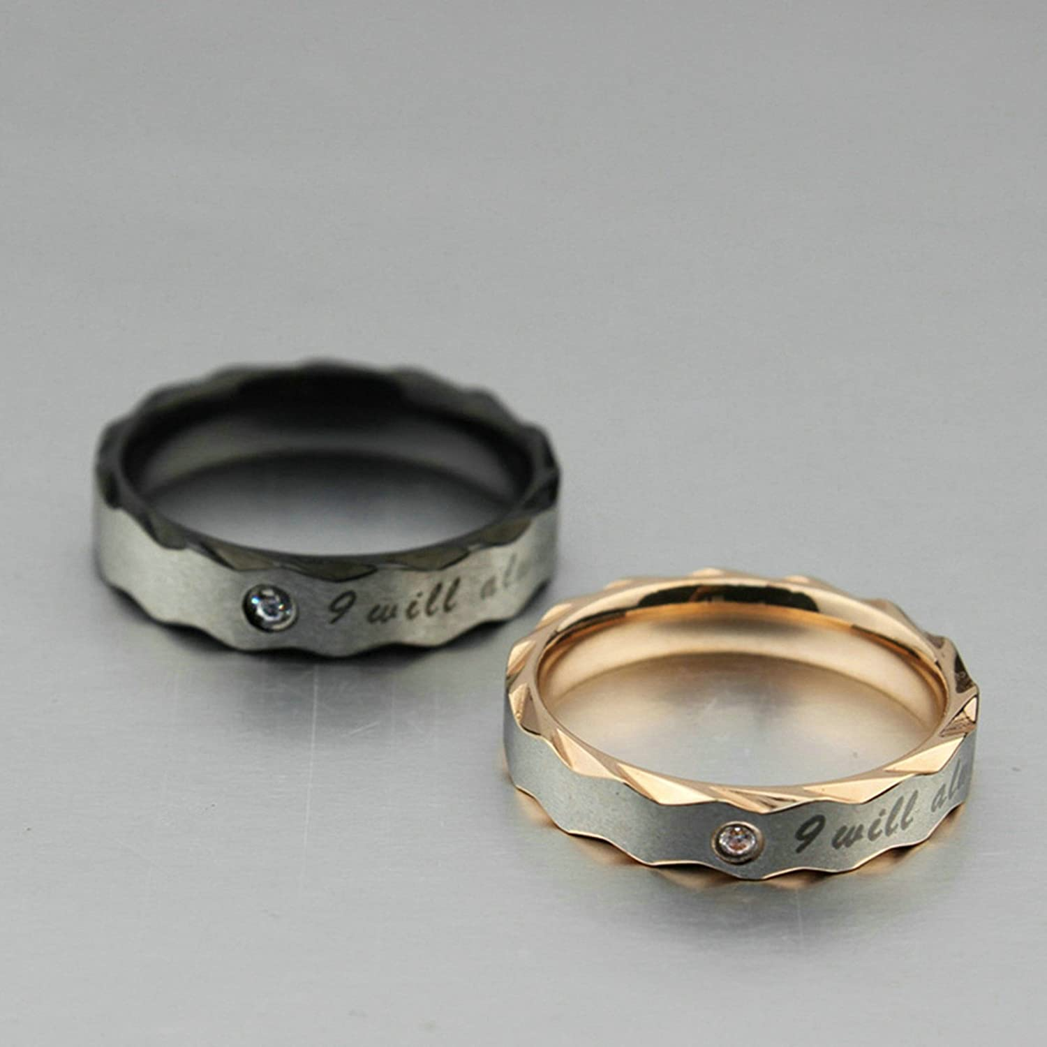 Aooaz Couples Rings Rings for Women Men with Engraving I Will Be Always with You Women Rings