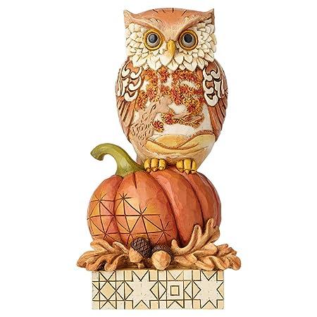 Enesco Jim Shore Heartwood Creek Harvest Owl on Pumpkin Figurine, 6.1 , Multicolor