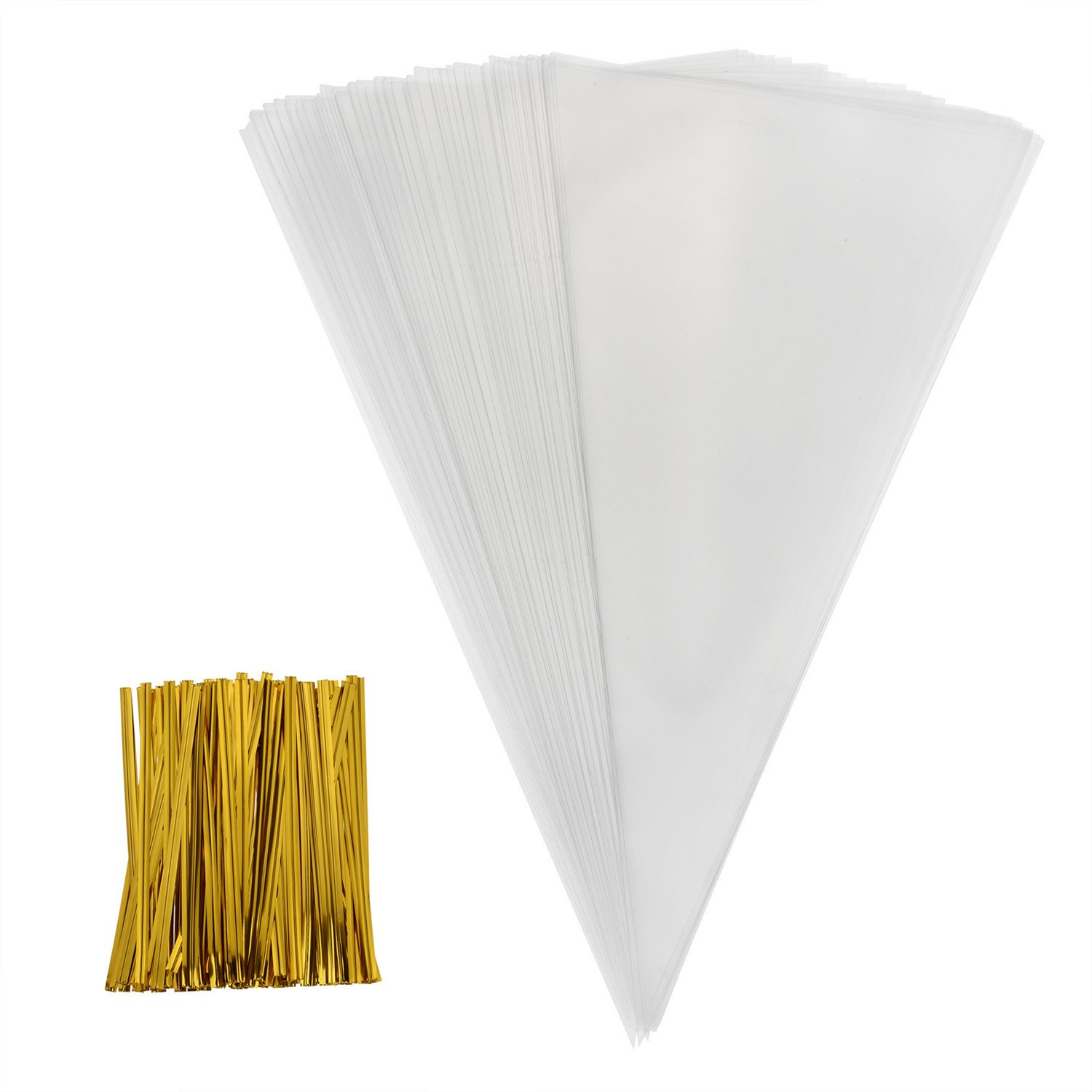 Outus 100 Piece Medium Transparent Cone Bags Clear Cello Bags Sweets Treat Bags with 100 Piece Gold Twist Ties 11.8 by 6.3 Inch