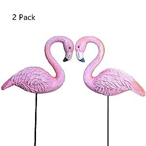 MUAMAX Miniature Flamingo Stakes Fairy Garden 2-Pack Flamingo Pots Ornaments Flamingo Figurines Micro Landscape Crafts Mini Mingo Pink Décor Unique Gifts