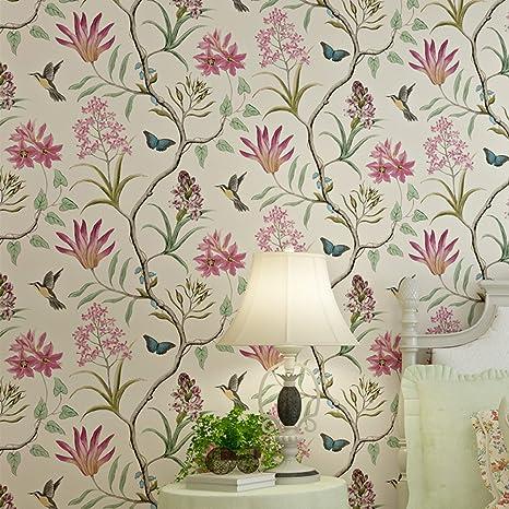 Lianle Papier Peint Foret Mystique Fleurs Oiseaux Papillons Wall