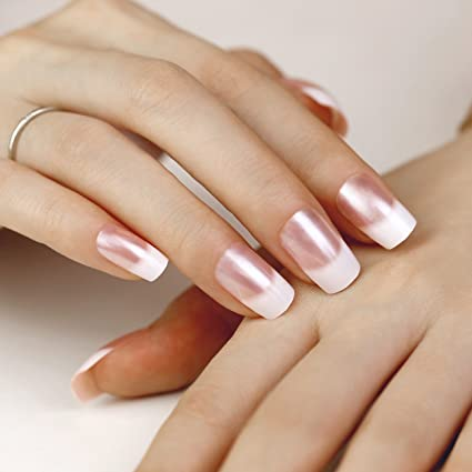 ArtPlus Uñas Postizas Falsas Artificial 24pcs White Pearl Elegant Touch French Manicure False Nails with Glue Full Cover Long Length Fake Nails Art
