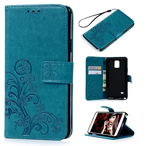 Note 4 Case,Samsung Galaxy Note 4 Case - Wallet Case Flip Kickstand 3D  Embossed Clovers Floral PU Leather Case Ultra Slim Shockproof TPU Inner  Bumper
