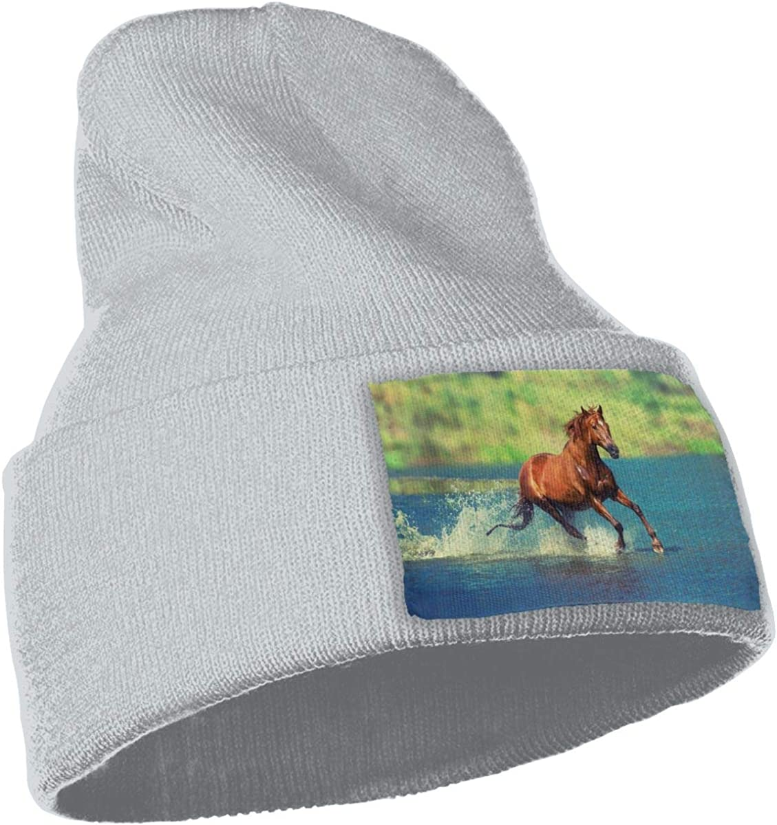 ONHIM Vertical-Wild-Horse Men Women Stretchy Knitting Beanie Hat Slouchy Jogging Cap