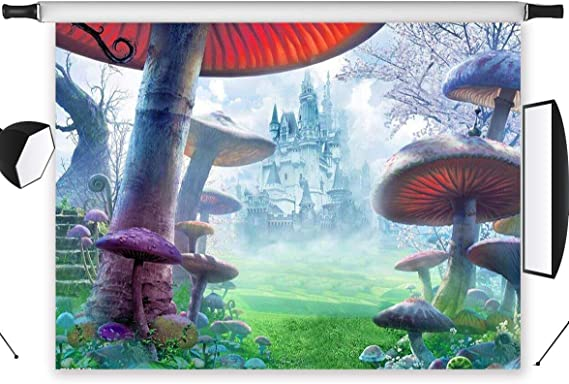 LB 10x8ft Fairytale Wonderland Backdrop Tea Party Photography Backdrops Fantasy Forst Mushroom Animal Background for Kids Birthday Banner Photo Booth Studio Props