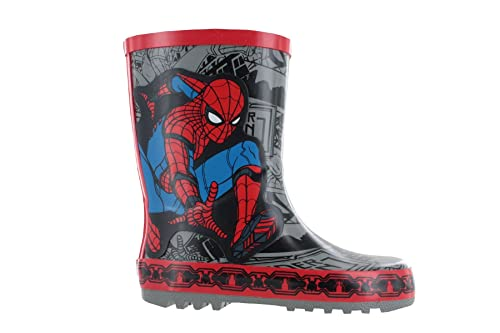 ef2e224538f Boys Spiderman Thick Rubber Grey & Red Wellies Rain Boots Sizes UK Infant  7-1