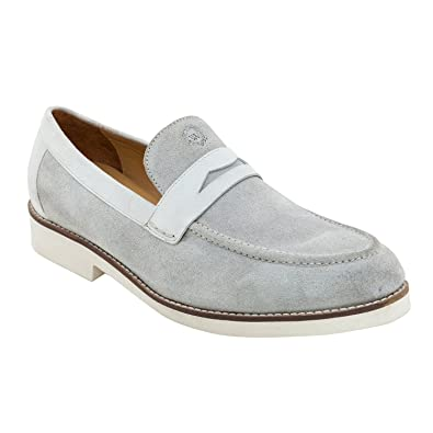 Genuine Suede Leather Slip On Shoe Loafers For Men In Grey Colour