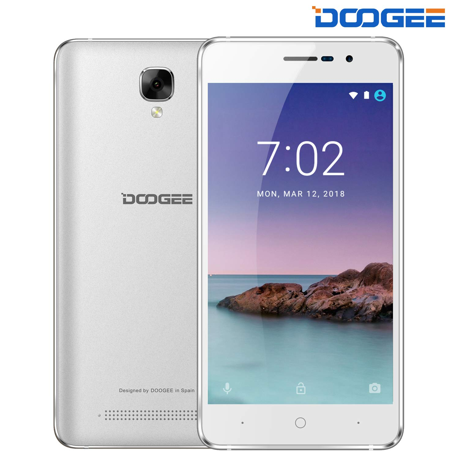 DOOGEE X10S, Unlocked Cell Phones - Dual Sim Smartphone with 5.0'' IPS Display - Android 8.1-1GB RAM - 8GB ROM - 2MP+5MP Dual Camera - 3360mAh Battery - 3G Unlocked Phones - Silver