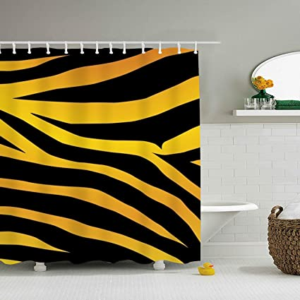 Image Unavailable Not Available For Color WANL Gold Zebra Print Shower Curtain