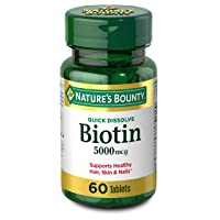 Biotin by Nature's Bounty, Vitamin Supplement, Supports Metabolism for Energy and Healthy Hair, Skin, and Nails, 5000 mcg, 60 Quick Dissolve Tablets