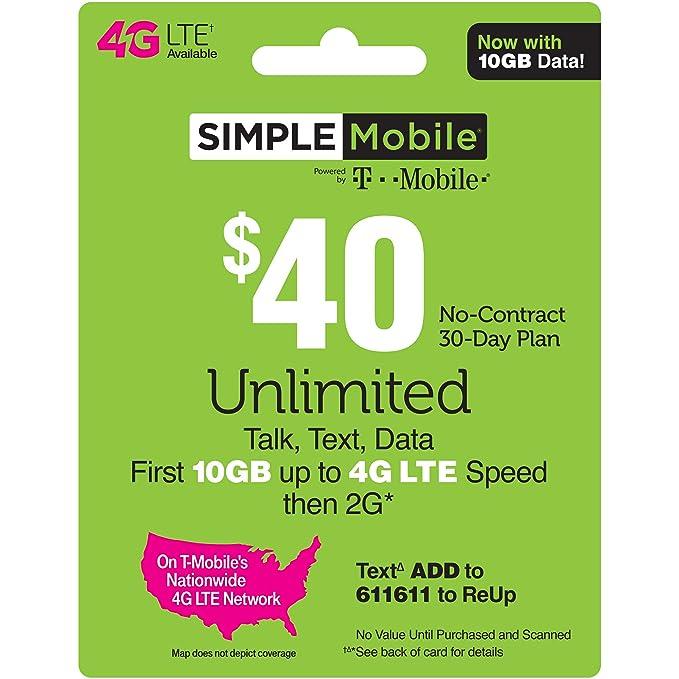 Physical Card Shipped $40 ReUp Prepaid Airtime Card SIMPLE