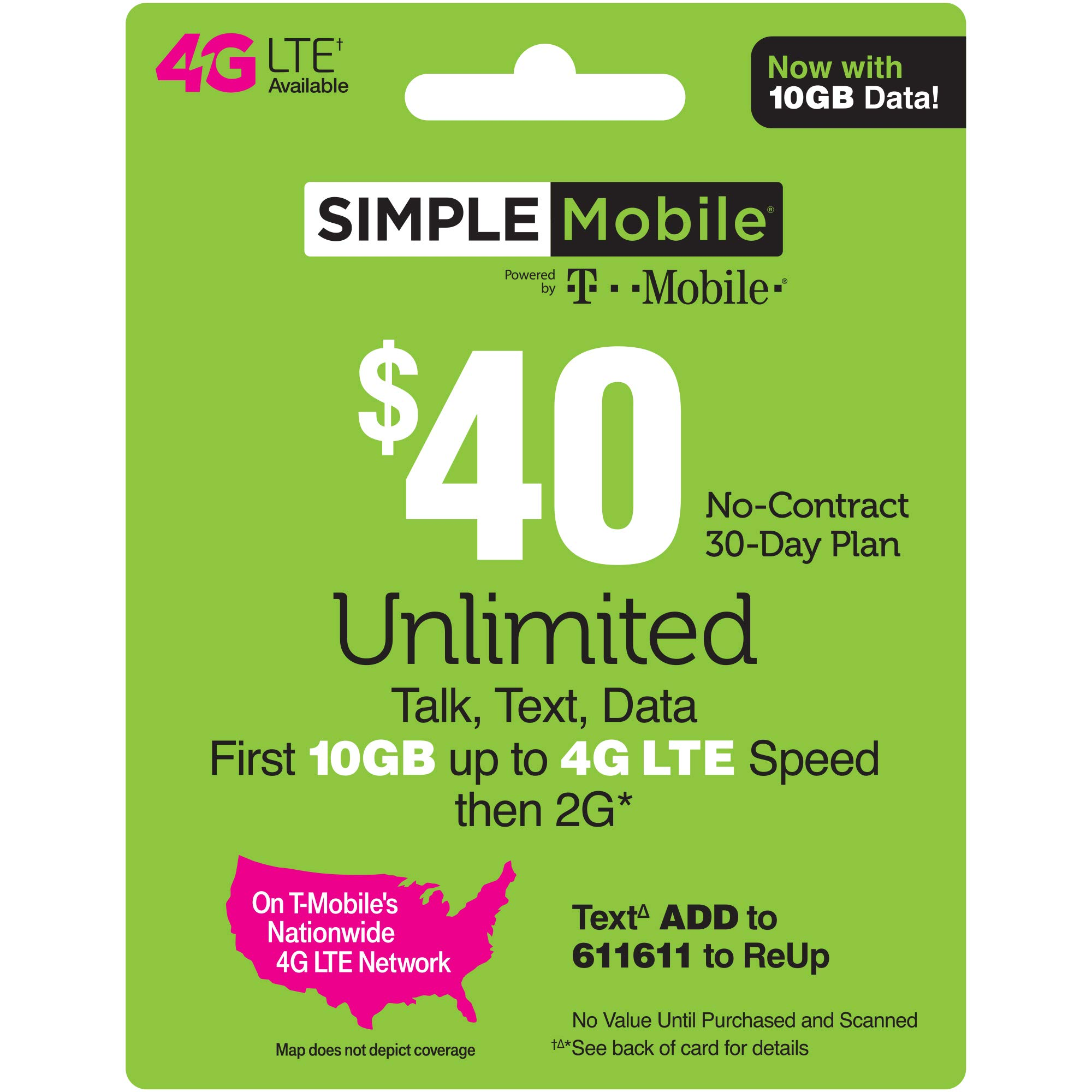 SIMPLE Mobile Refill Card - $40 ReUp Prepaid Airtime Card