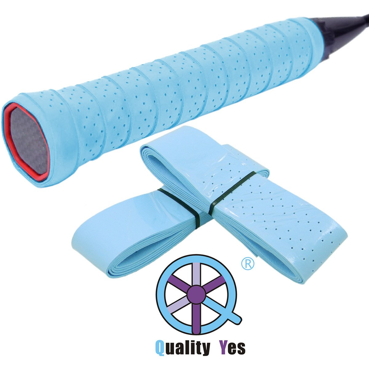 QY 2Pack Widened Perforated Super Absorbent Tennis Racket Overgrip Anti Slip Badminton Racket Tape Wrap Table Tennis Racket Tape, Light Blue Color