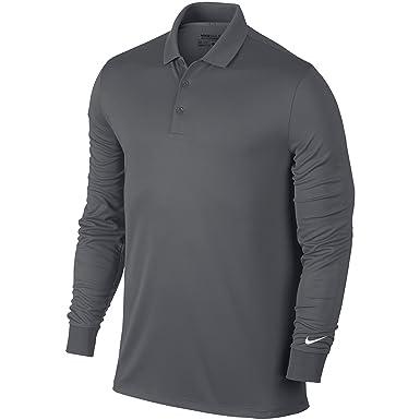 7b48e59b1 Nike Victory Long Sleeve Mens Golf Polo Shirt - Black o - Dark Grey   White  - XL  Amazon.co.uk  Clothing