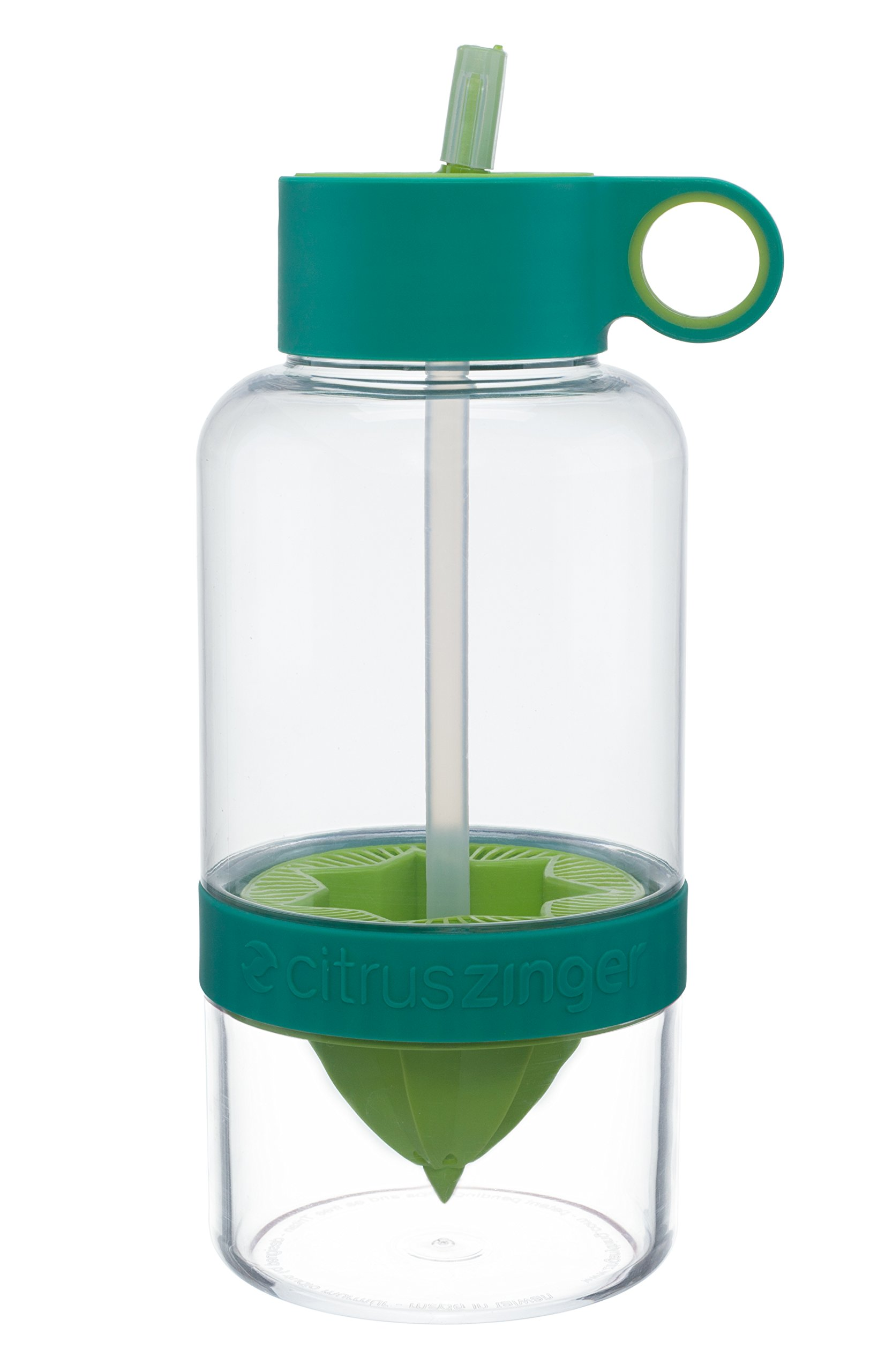 Citrus Zinger Biggie by Zing Anything, Active Infusion Water Bottle, Citrus Fruit Infusion, BPA EA free Tritan, Reusable Water Bottle, Hydration, Infusion Technology, Flip Up Straw Cap, 36 oz., Green